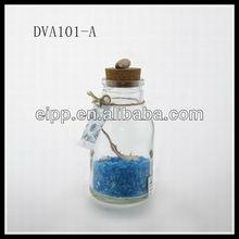 blue glass sand decorated glass drift bottle