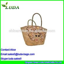 2015 Luda Embroidery handmade sea grass straw tote purse