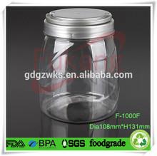 1000ml 34 oz PET plastic jar packaging original instant coffee with colored handle cap factory wholesale