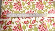 KTCF-47 Sanganeri Floral and Leaf Hand Block Printed 100% Organic cotton fabric Indian Traditional Jaipur Wholesale
