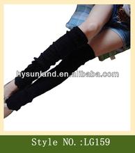 Black Winter Warm Women Plain Knitted Leg Warmers wholesale