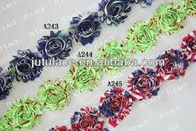 """whloesale 2.5""""chiffon shabby flower chiffon flower hair clip chiffon flower baby headband"""