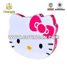 Cartoon animal shape for Hello Kitty pattern gift tin box
