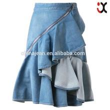 2015 New designer Lady summer dress girl fancy denim jeans skirt (JXW2007)