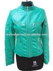 blue fashion women PU leather Jacket