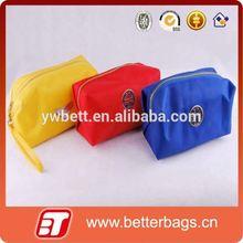 2015 satin material zipper cosmetic bags with emboss logo metal