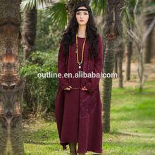 Jiqiuguer Art to Wear Retro Long Sleeve Hand Embroidery Pleated Swing Hem maxi dress dubai till Ankle western size