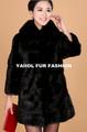emk1418 stile semplice giacca di pelliccia di visone collo di pelliccia di volpe