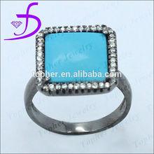 Square kallaite big silver 925 ring