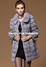 emk1435fashion natural blue mink fur coat