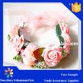 big pink rose flores headband faixa de cabelo