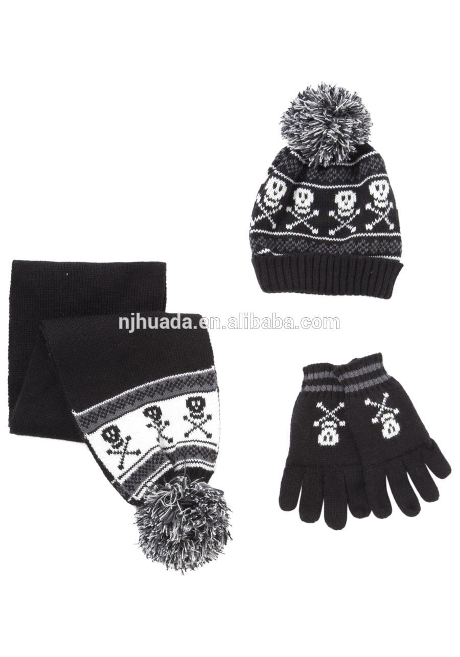 Skull Hat Knitting Pattern Boys Skull Knitted Hat Gloves