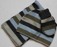 100% cottom children winter strip knitted scarf ,hat ,glove sets
