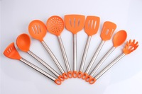 Silicone kitchen utensil with stainless steel handle