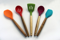 Silicone kitchen utensils with wooden handle