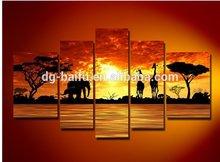 Wild animals scenery giraffe group oil painting