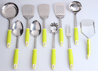 Hot sale colorful multi function stainless steel kitchen utensil set with TPR+PP handle