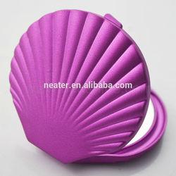 Shell shape portable folding mirror,plastic make up mirror