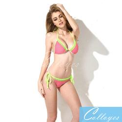 Colloyes 2015 New Sexy Bikini Swimsuit 2014 Lace Triangle Top Polka Dot + Green with Classic Cut Bottom