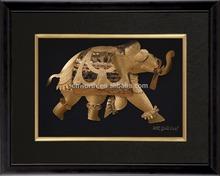 High Quality 3d God Photos 100% Handcraft Elephant Indian God Gift 24k Gold Picture Pop Sale