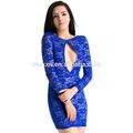 Toptan, yeni kadın yaz seksi mini kokteyl parti uzun kollu v- boyun mavi Backless dantel elbise