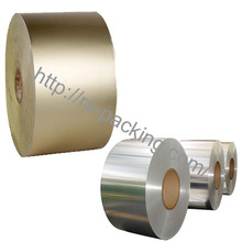 Hot laminated printed plastic film for food packaging on roll