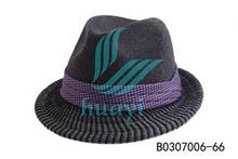 100% wool 2015 popular black mens fedora hat with three strips band