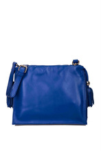 Goat leather bag two leather tassel shoulder bag for girls cross body bag blue