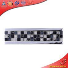 HBD12 Black Broken Matt Glass Plate Listello Tile Mosaic Borders Mural Patterns