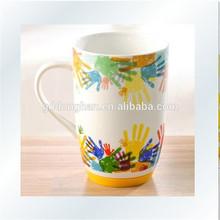 wholesale colorful Ceramic food grade coffee mug with silicone base