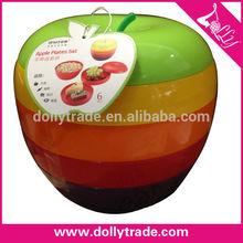 6 layers colorful apple shape snacks plates set