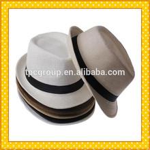 Sun hat summer straw Panama hat beach hat with black ribbon