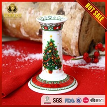 Santa Claus Ceramic Christmas Pillar Candle Holder