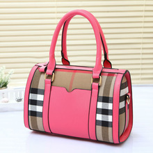 August new design ladies bags with grid jean cloth,grid pillow shape bag