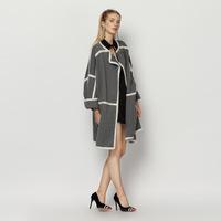 YIGELILA 2015 Hot Autumn New Woolen Long Grey Trench Coat Women White Edging 9269 Grey