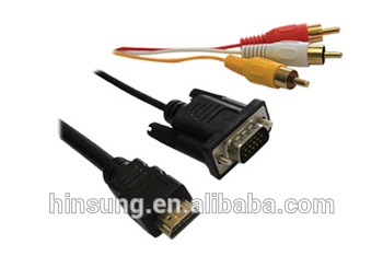 High quality hdmi to vga rca cable for Multimedia Projector Computer