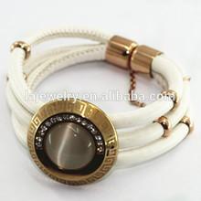 fashion bracelet hot 2014 magnetic clasp adjustable leather jewelri bracelet