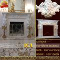 Indoor lareira em mármore branco, lareira de pedra