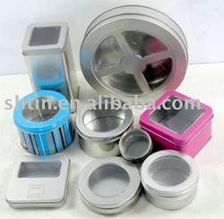 Tin box with PVC window/metal can