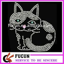 Rhinestone Iron on Transfer Hot fix Motif crystal Fashion Design cat decoration