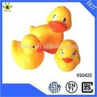 Wholesale squeaky bath toy animal yellow vinyl duck