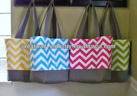 New 2015 Fashion Personalized Chevron Cotton Canvas Tote Bag Blank