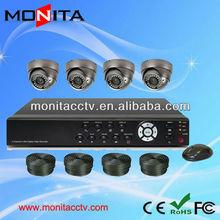 With 4Pcs 700TVL IR Dome Camera 4CH Complete CCTV Set
