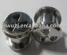 Aqua Blue Pyrex Glass Spiral Hanger Tapers Ear Plugs w/Tail- 0G 8MM