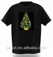 DXT Christmas tree el /led sound active t-shirt