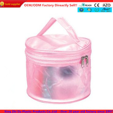 Round transparent PVC cosmetic bag with handle
