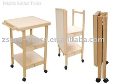 Foldable Wooden Kitchen Service Trolley Cart with 3 Folding Tiers 4 Casters for Home Hotel Restaurant Cooking and Table Dining
