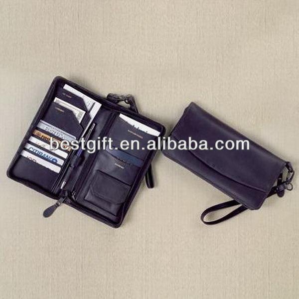 Top quality PU faux leather passport bag travel ticket passport bag