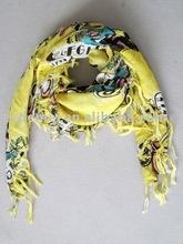 Square print viscose fashion muffler scarf