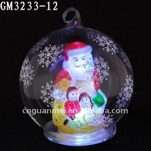 Wholesale clear glass ball christmas ornaments electrical with santa clause ,kids and snowflake